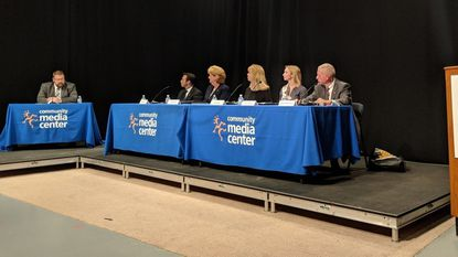 From left, Carroll County Times Editor Wayne Carter moderated Wednesday night's District 5 forum at the Community Media Center in Westminster with Republicans David Ellin, Susan Krebs, April Rose, Democrat Emily Shank and Republican Haven Shoemaker.