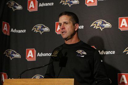 Baltimore Ravens head coach John Harbaugh speaks to the media during a news conference after an NFL football game against the Cincinnati Bengals, Sunday, Jan. 3, 2016, in Cincinnati. Cincinnati won 24-16.