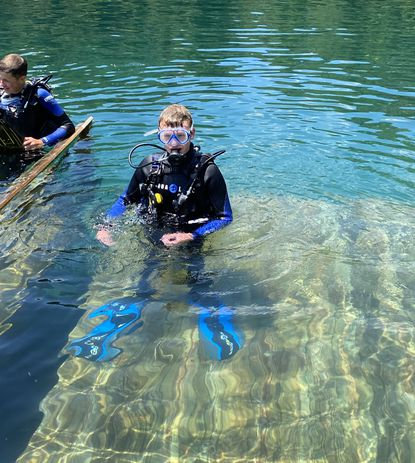 Charles Wolford, who turned 14 on July 14, participates in an Atlantic Edge Scuba Diving class.