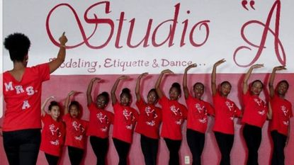 "Adrienne Watson Carver (left) leads dance students from Studio ""A"" Modeling, Etiquette and Dance Academy."
