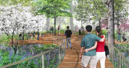 The Inner Arbor Trust, a corporation created to develop Symphony Woods in downtown Columbia, released a report that touts the environmental improvements the plan will make to the area. This rendering depicts what the environment around a portion of the elevated boardwalk could look like.
