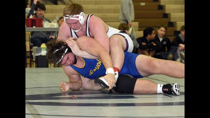 Mount Saint Joseph junior heavyweight Isaac Righter, seen wrestling Loyola's Bennett Traurig in the MIAA finals on Feb. 9, won the National Preps title at Lehigh University on Saturday, February 23, 2019.