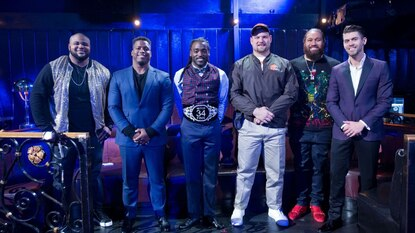 "From left, NFL players Brandon Williams, Jonathan Stewart, Alex Collins, Kevin Zeitler, Domata Peko and Justin Tucker on the set of CBS' ""MVP: Most Valuable Performer"" on Thursday night."