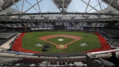 General view at the pitch during an unveiling of the London Stadium in London, Thursday, June 27, 2019. Major League Baseball (MLB) is hoping to make its mark its European debut with the New York Yankees versus Boston Red Sox game at London Stadium this weekend.