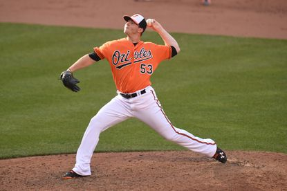 Zach Britton of the Baltimore Orioles pitches in the ninth inning for his 21st save during a baseball game against the Toronto Blue Jays at Oriole Park at Camden Yards on June 18, 2016 in Baltimore.