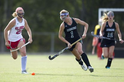 Atholton's Jen Bleakney scored seven goals in the Raiders win Monday night. The victory clinched a share of the county title for Atholton.