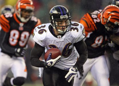 Ravens safety Jim Leonhard returns an interception for a touchdown duringa game against the Bengals on Nov.30, 2008 at Paul Brown Stadium in Cincinnati.