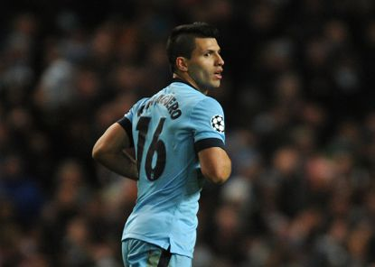 Manchester City's Sergio Aguero during the Champions League round 16 match between Manchester City and Barcelona at the Etihad Stadium, in Manchester, England, Feb. 24, 2015.