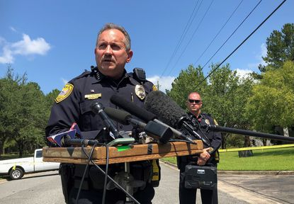 Acting Tallahassee Police Chief Steven Outlaw briefs reporters in Tallahassee, Fla., on Sept. 11, 2019, hours after police say a 41-year-old man stabbed five co-workers at a business.