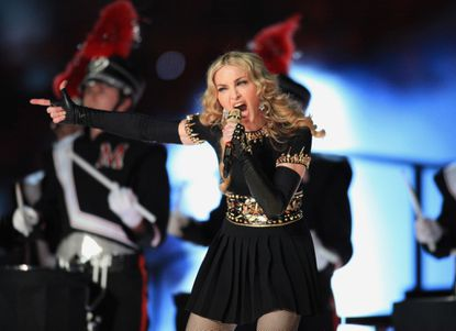 Madonna performs at the Super Bowl XLVI Halftime Show in Indianapolis.