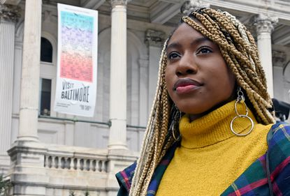 Mecca Verdell, an award-winning poet, has worked with the city's tourism organization, Visit Baltimore, to name the BOP Pass, which offers discounts to restaurants, shops and attractions. Banners on City Hall feature a poem by Kondwani Fidel, also a part of the Visit Baltimore campaign.