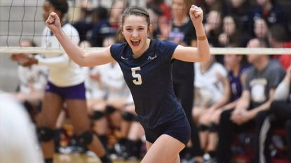 Perryville's Brooke Reynolds celebrates a point against Smithsburg in the Class 1A state final volleyball match at University of Maryland's Ritchie Coliseum on Saturday.