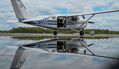 A Cessna loaded with an array of cameras taxies for takeoff at Martin State Airport last month. The plane is used for the Aerial Investigation Research pilot program assisting the Baltimore Police Department investigate certain crimes.