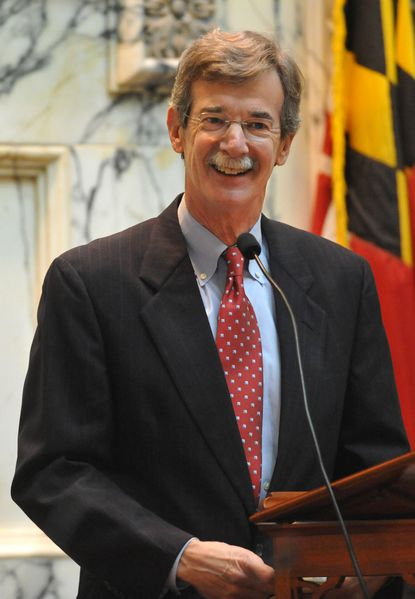 Annapolis , MD -- Sen. Brian E. Frosh acknowledges applause from the House Chamber after he was sworn in as Maryland Attorney General in January. Amy Davis / Baltimore Sun