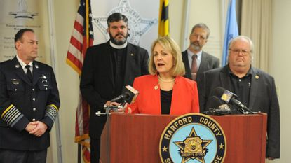 Del. Kathy Szeliga spoke in December about legislation to arm local churchgoers that since has gone nowhere in the Maryland General Assembly session. From left are, Sheriff Jeffrey Gahler, the Rev. Tommy Allen, the Rev. Don Dove and the late Sen. Wayne H. Norman Jr.