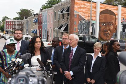 Baltimore State's Attorney Marilyn Mosby speaks at a press conference four years ago on her office's decision to drop the remaining charges in the cases against the officers involved with the death of Freddie Gray.