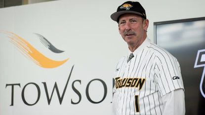 Newly appointed Towson baseball coach Matt Tyner is introduced at a news conference at Johnny Unitas Stadium on Friday, June 23, 2017. (Michael Ares / The Baltimore Sun)