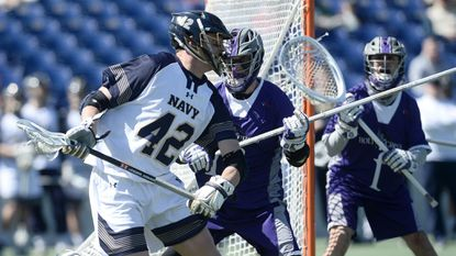 Attackman Jack Ray (42), who led the Navy men's lacrosse team with 26 goals in 2018, is a key loss for the Midshipmen, who scored only 9.0 goals per game this past spring.