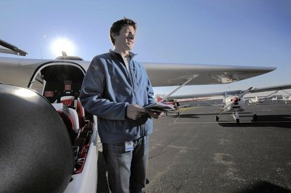 Rob Rice trains to fly at Bay Bridge Airport so he can better teach his aeronautics class at South River High School.