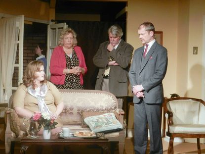 """Stephanie Shade as Gerda Cristow, Dana Medford as Henrietta Angkatell, Maureen Rogers as Lady Lucy Angkatell, Tom Schneider as Sir Henry Angkatell and Eric Henry as Inspector Colquhoun perform in Agatha Christie's """"The Hollow,"""" the current show at Laurel Mill Playhouse."""