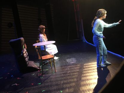 """Actors pause in a dramatic moment during """"Dead Man's Cell Phone"""" at Carroll Community College. From left, Maya Hand plays Cell Phone, Regan Hyde plays Hermia and Mackenzie Brady plays Jean."""