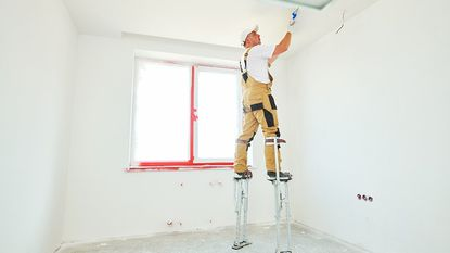 Although drywall stilts work well for hanging drywall and mudding, you can also use them for painting ceilings or hanging a ceiling fan.