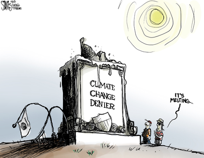 Scorching temperatures leave little place for climate change deniers to be honored. (Scott Stantis/Tribune Content Agency).