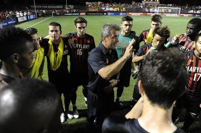 University of Maryland men's soccer coach Sasho Cirovski talks up the team during a game last September.