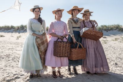 "Emma Watson, left, Florence Pugh, Saoirse Ronan and Eliza Scanlen in Greta Gerwig's ""Little Women."""