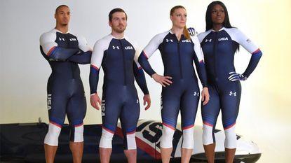 Hakeem Abdul-Saboor, Codie Bascue, Jamie Greubel and Aja Evans, all members of the U.S. Olympic bobsled team, pose in their Under Armour sledding uniforms.