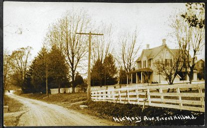 A postcard from the Harford County Historical Society shows a scene from Forest Hill, Hickory Avenue in 1911. The crossroads community was briefly called Highland Grove in the mid-1800s.