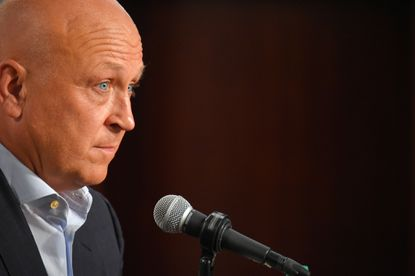 Baseball Hall of Famer, retired Baltimore Orioles infielder Cal Ripken Jr., speaks during a newsconference to discuss the 20th anniversary of his 2,131st consecutive game at Camden Yards.