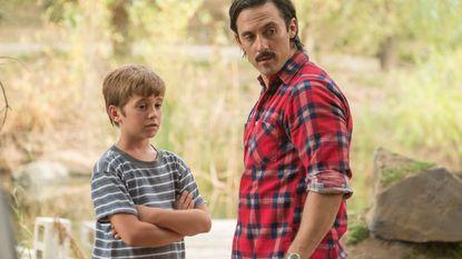 Parker Bates as Kevin, Milo Ventimiglia as Jack.