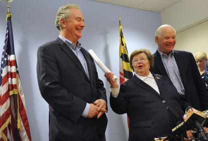 Chris Van Hollen with Senators Barbara A. Mikulski and Ben Cardin at a press conference this morning after Van Hollen won his election to be a member of the U.S. Senate.