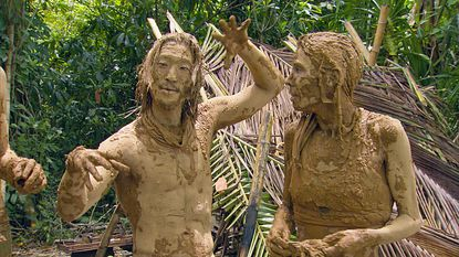 """Yung """"Woo"""" Hwang (left) and Trish Hegarty on """"Survivor."""""""