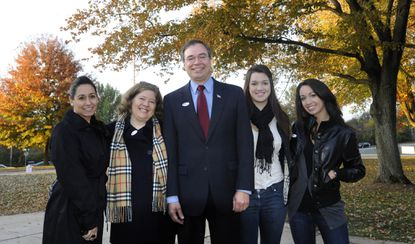 "Sylvia ""Cookie"" Harris (second from left) stands next to husband Rep. Andy Harris (center), and surrounded by (left to right) daughter-in-law Carolyn Harris and daughters Irene and Rebecca."