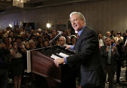 Democratic U.S. Senate candidate, Rep. Chris Van Hollen, D-Md., speaks at an election night party in Bethesda, Md., Tuesday, April 26, 2016. Van Hollen defeated Rep. Donna Edwards, D-Md., in the Democratic primary for U.S. Senate. (AP Photo/Patrick Semansky)