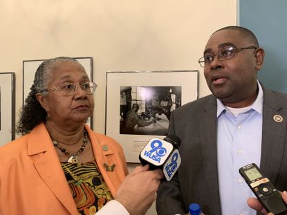 Maryland Dels. Cheryl Glenn, left, and Darryl Barnes discuss the Maryland Medical Cannabis Commission's delay in granting new licenses for growing and processing cannabis on Thursday, Sept. 26, 2019. The Legislative Black Caucus, which Barnes chairs, has raised concerns about the licensing process.