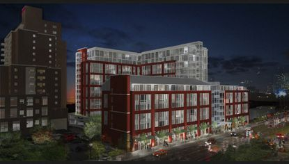 In this night scene rendering of the 101 York project proposed by DMS Development, which will feature student housing and retail space, the front of the building faces York Road. At left is the Towson University Marriott,