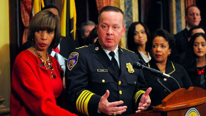 Baltimore City Police Commissioner Kevin Davis and Mayor Catherine Pugh announce a consent decree with the Justice Department Jan. 12.