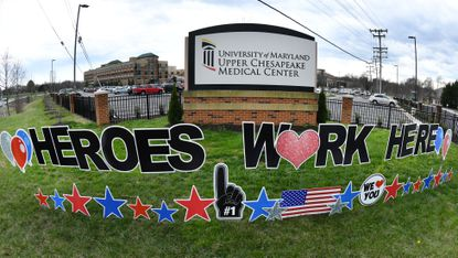 Yard signs along Route 24 in Bel Air in front of the University of Maryland Upper Chesapeake Medical Center spell out a supportive message to those health care workers at the hospital last Monday morning.
