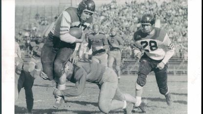 City takes on Poly on Thanksgiving Day, Nov. 22, 1956.