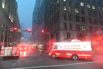 BCFD is at the scene of a building fire at the corner of North Calvert and Lexington streets.