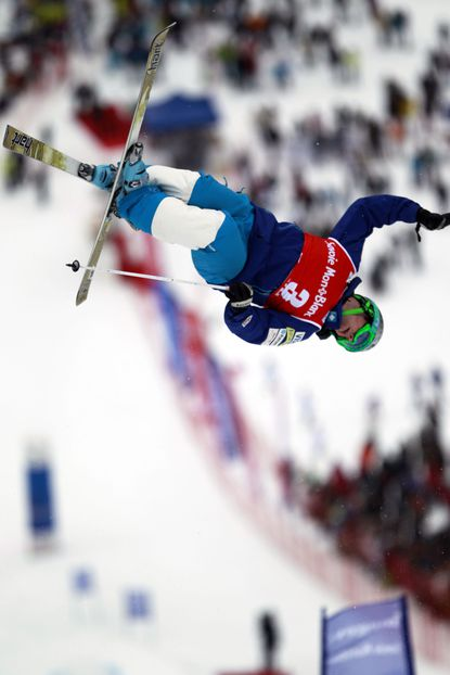 MEGEVE, FRANCE - MARCH 18: (FRANCE OUT) Patrick Deneen of the United States takes 1st place during the FIS Freestyle Ski World Cup Moguls on March 18, 2012 in Megeve, France. (Photo by Christophe Pallot/Agence Zoom/Getty Images) ORG XMIT: 130659545