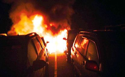 Six vehicles awaiting sale on the lot of the Bel Air Auto Auction were damaged in an early morning fire Wednesday, fire investigators said.