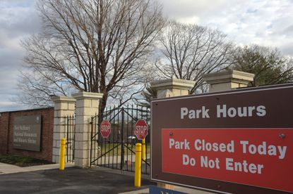 A sign warns visitors at Fort McHenry National Monument and Historic Shrine, one of the sites temporarily shuttered by the federal government partial shutdown.