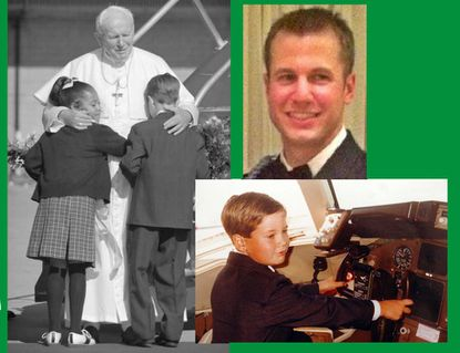 Justin Farinelli of Pasadena was chosen with Melissa Brent of Columbia as the children to greet Pope John Paul II at BWI at the pontiff's 1995 visit to Baltimore. Bottom right, he got a chance to sit in the pope's airplane. Above right is Farinelli today.