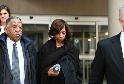 Former Baltimore Mayor Catherine Pugh leaves the downtown federal courthouse after she pleaded guilty to conspiracy and tax evasion charges in federal court last year. Ahead of her sentencing dozens of Baltimore civic and religious leaders are asking for a lenient sentence.