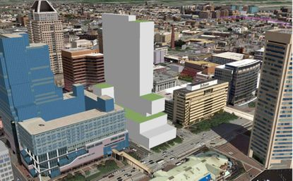 An early rendering of a new apartment and hotel tower proposed for 300 East Pratt Street. The architect is HKS. The developers are Comstock Partners LC and Interpark Holdings.