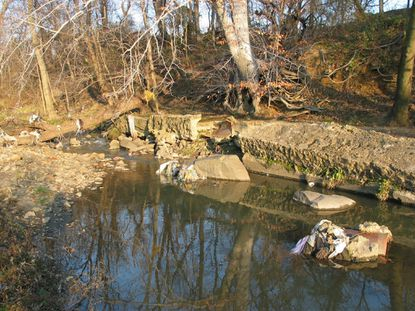 Eroding stream banks and aging sewer lines contribute to evolving water pollution problems in cities. A sewage pipe that was originally placed in the stream bed of Gwynns Run in West Baltimore developed leaks, and is now surrounded by a concrete casing.